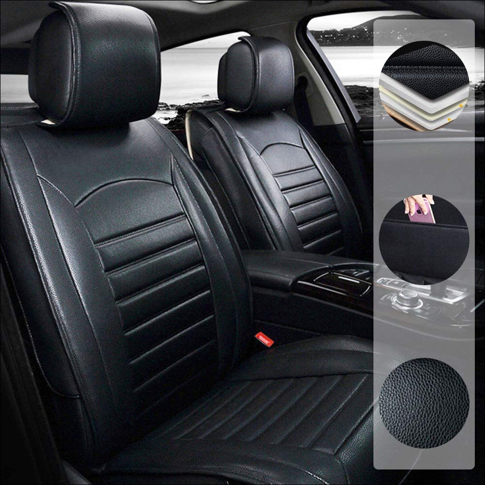 Car Seat Cover for Mercedes Benz A 160 180 200 260 5-Seats Protection Soft Waterproof Full Set PU Leather Car Front+Rear Seat Pads Black Standard 5PCS