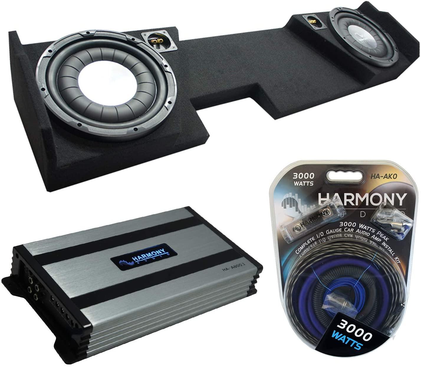 Compatible with 2014 - UP Chevy Silverado Double Cab Harmony Audio Bundle HA-F104 Dual 10 Sub Box HA-A800.1 Amp