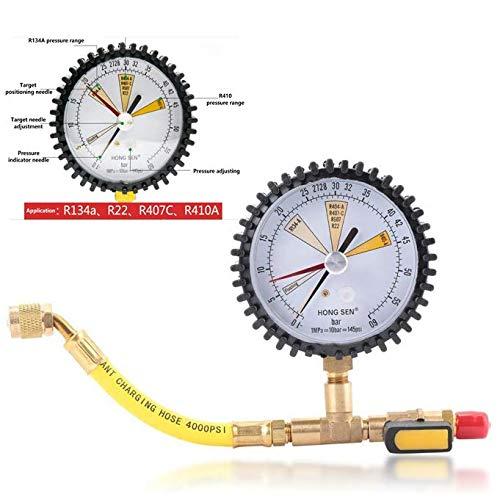 1/4''SAE Nitrogen Pressure Gauge, Air Conditioning Pressure Gauge,Refrigeration Pressure Test,for R134a, R22, R407C, R410A