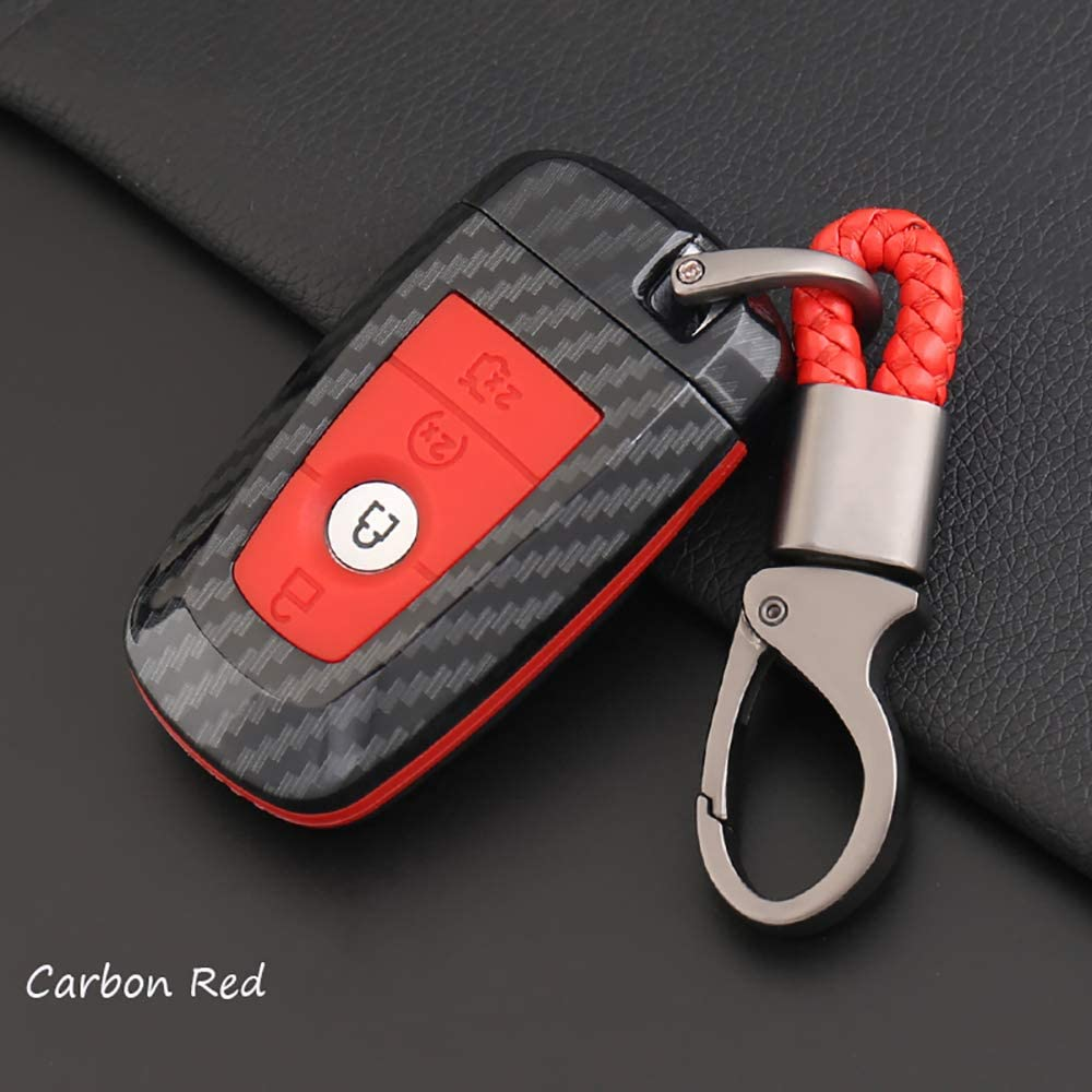 ontto for Ford Carbon Fiber Smart Key Cover Case Key Shell Remote Key Box Key Chain Key Ring Prevent Scratch and Falling Fits Ford Mondeo Mustang Edge (Red)