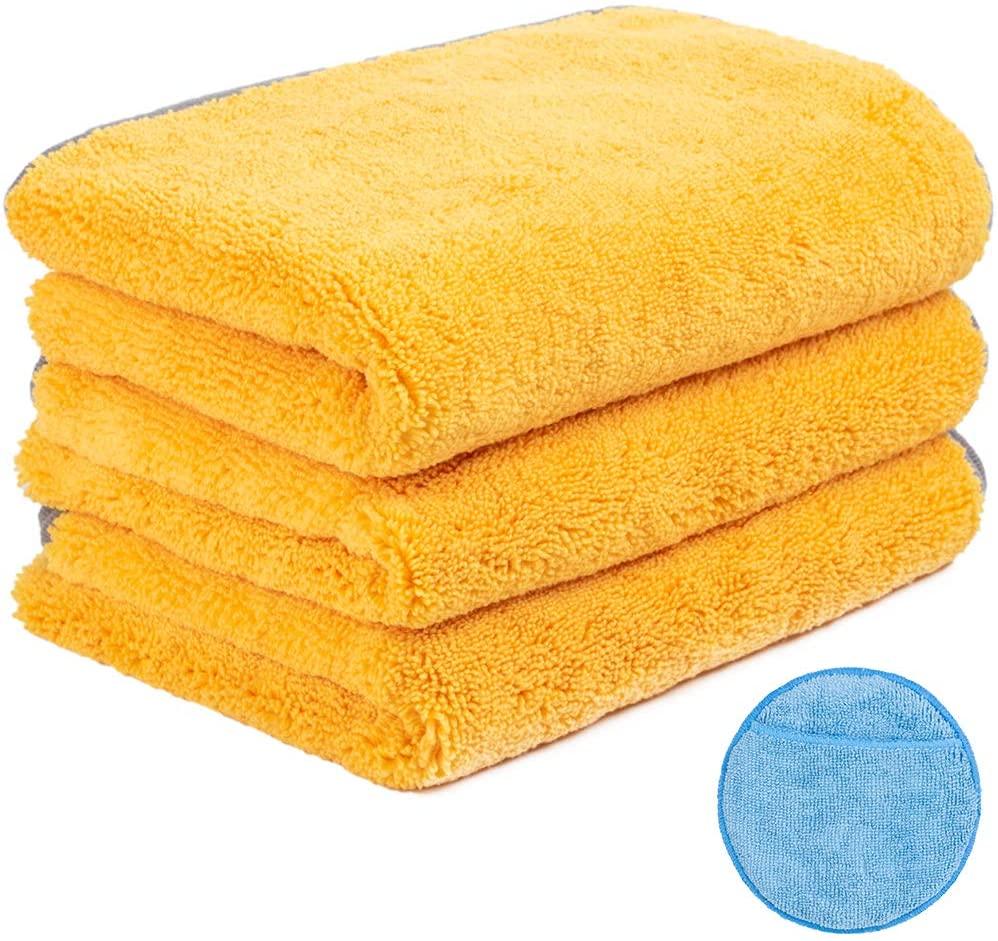 Handy Picks Microfiber Cleaning Cloth for Cars, Car Detailing Cloth n Microfiber Wax Applicator Combo for Car Washing, Drying, Buffing, Polishing