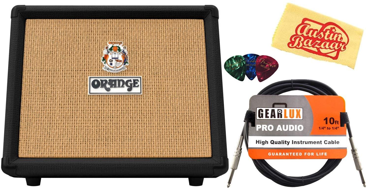 Orange Crush Acoustic 30 Combo Amplifier Bundle with Instrument Cable, Picks, and Austin Bazaar Polishing Cloth - Black