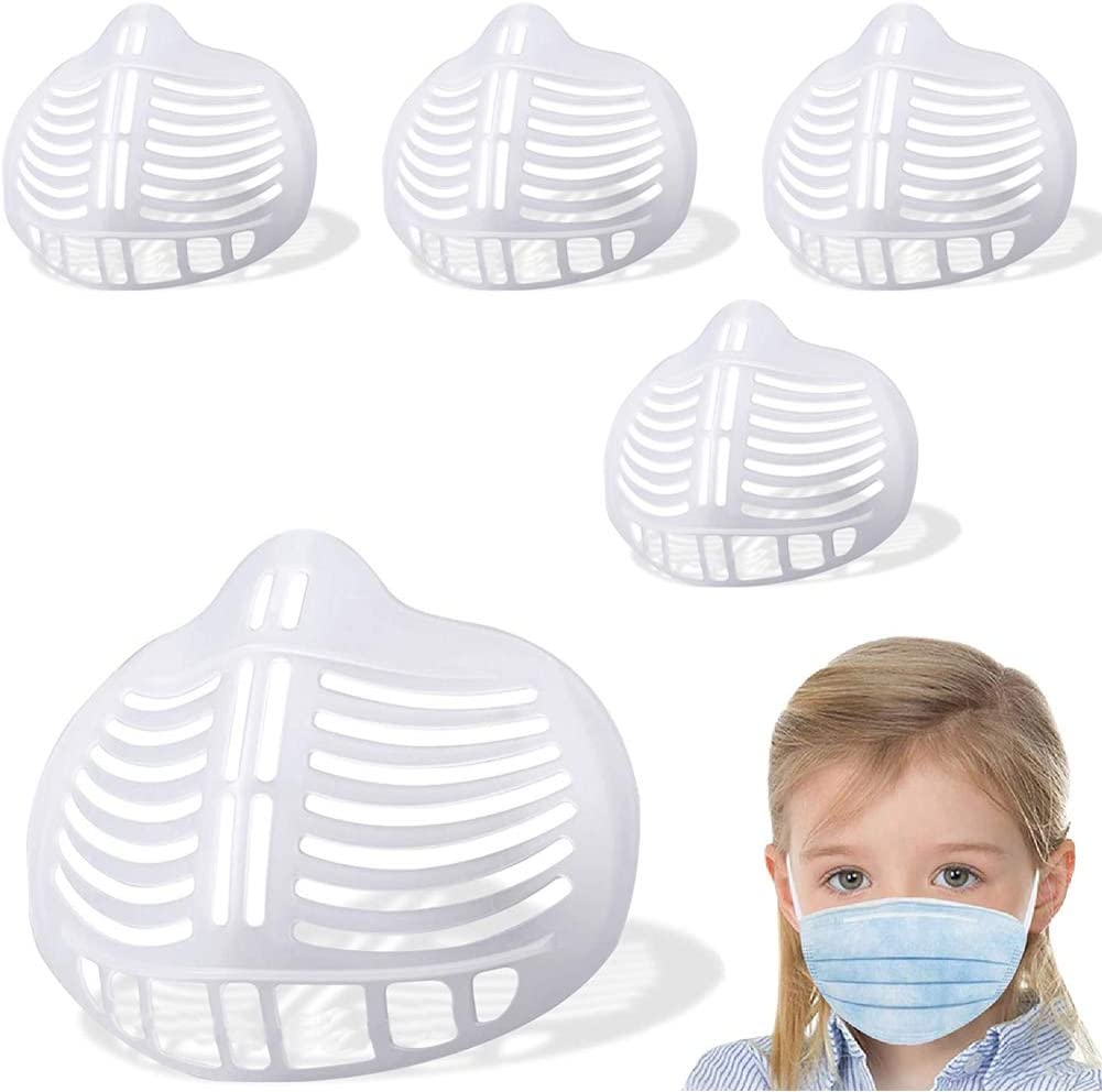 Kids Face Mask Inner Support Frame Homemade Cloth Clear Mask Cool 3D Silicone Bracket More Space for Comfortable Breathing Washable Reusable, 5pcs