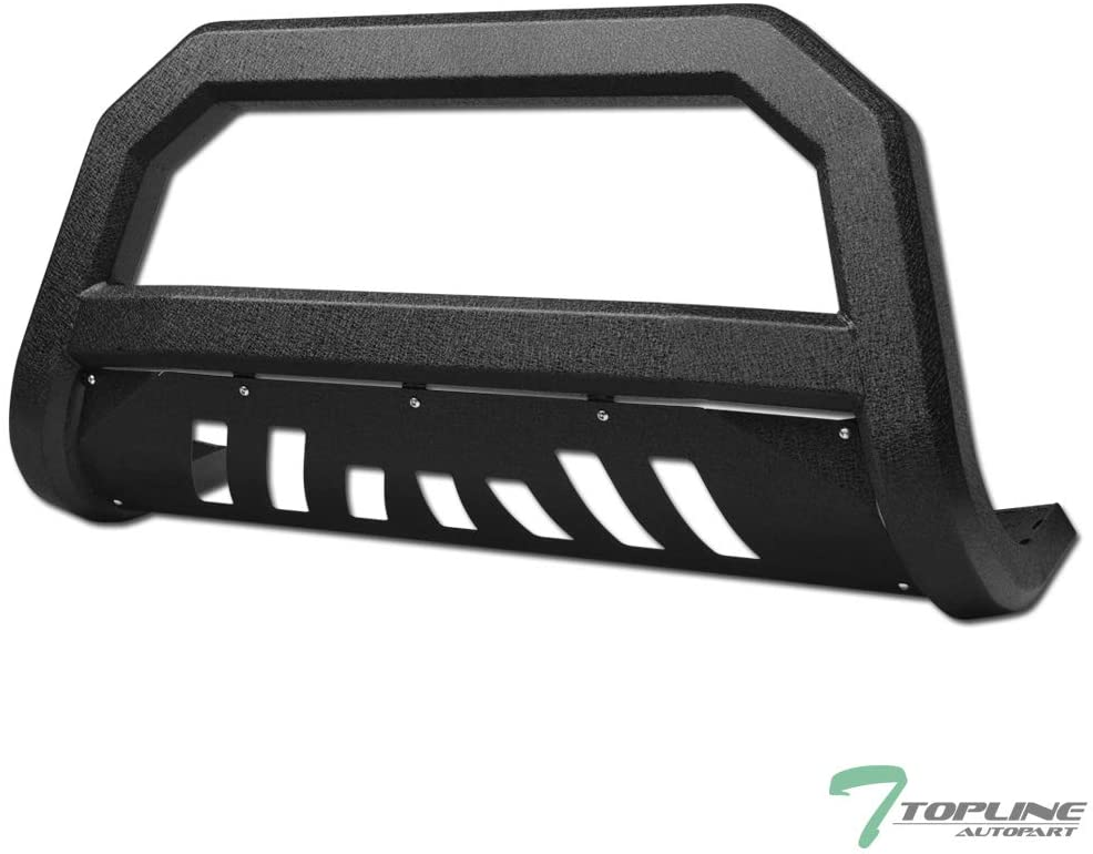Topline Autopart Textured Black AVT Style Bull Bar Brush Push Front Bumper Grill Grille Guard With Skid Plate For 10-18 Dodge Ram 2500/3500