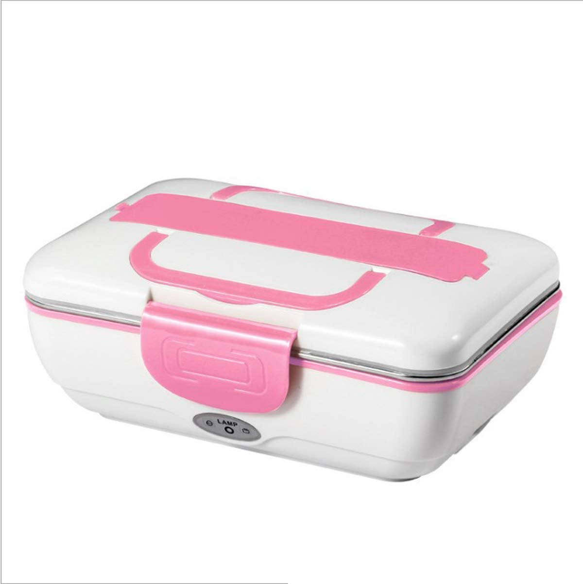 LEESTAR Electric Lunch Box Toursion Dual Use Car/Truck and Work Portable Removable Food Heater 304 Stainless Steel Container 110V&12V Spoon Fork and Chopsticks Included(Pink)