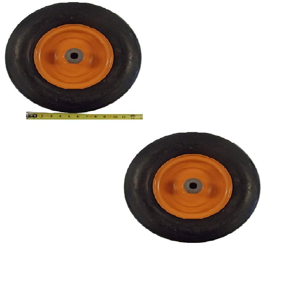 2 Orange Air Tires for Scag 481551 13x5x6 with Roller Bearings Tiger Fits Cub Sabre