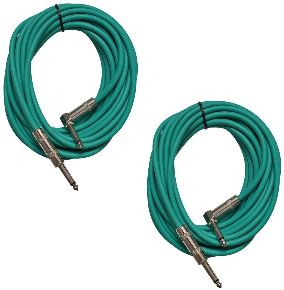 Seismic Audio - SAGC20R-Green-2Pack - Pair of Green 20 Foot Right Angle to Straight Guitar Cables - 20' Green Guitar or Instrument Cables
