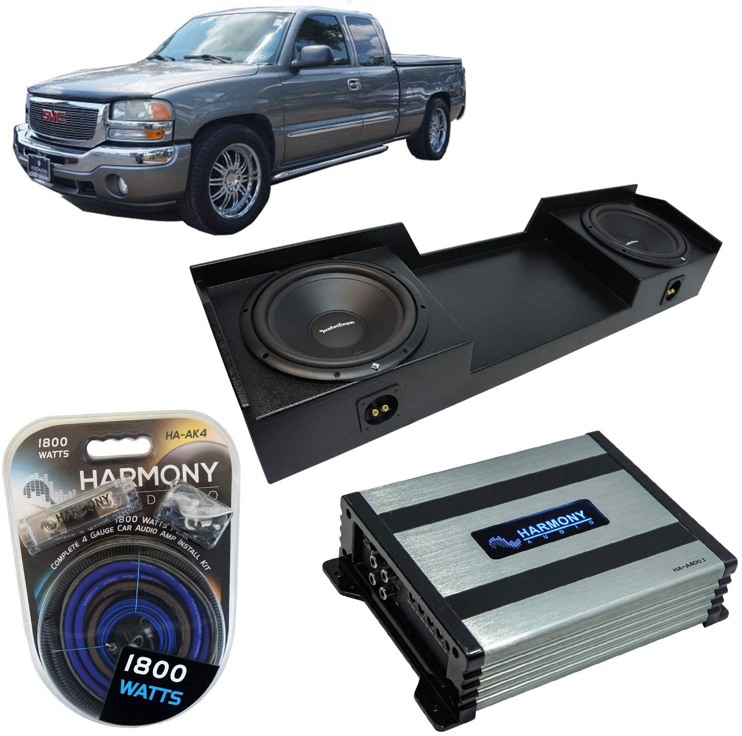 Compatible with 1999-2006 GMC Sierra Extended Truck Rockford Bundle R1S412 Dual 12 Rhino Coated Sub Box Harmony HA-A400.1