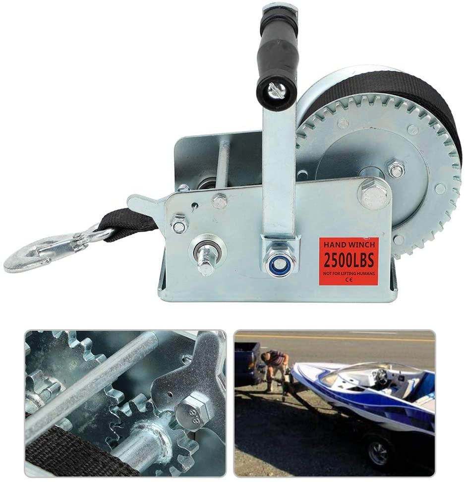 2500LBS Hand Crank Winch Hand Winch with 7M Polyester Strap Heavy Duty for Boat Trailer Trucks Pull Lift Tool Hand Winch Crank Gear Winch for Garages, Small Workshops or Warehouses Lifting Heavy Loads