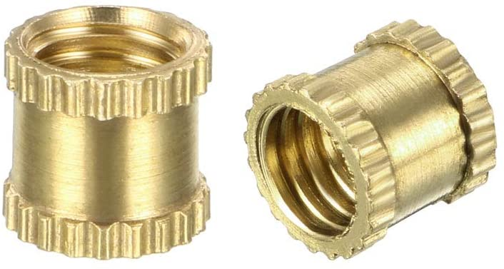 uxcell Knurled Threaded Insert, M5 x 6mm (L) x 6.4mm (OD) Female Thread Brass Embedment Nuts, Pack of 200