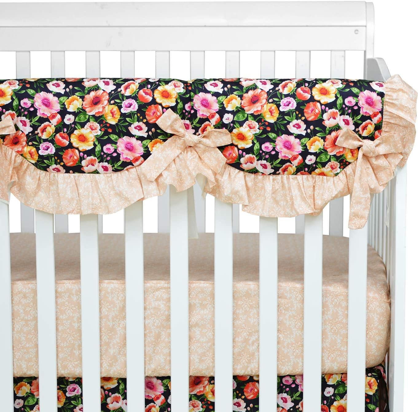 Brandream Baby Girls Vintage Crib Rail Cover Farmhouse Floral Baby Teething Guard Charming Boho Protector Guard Sweet Long Front Crib Rail Guard, Garden Blush Pink Floral