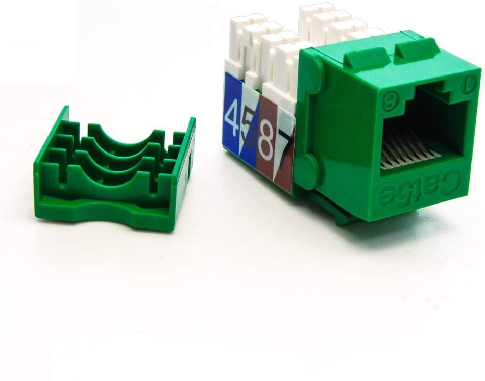 Beszin Cat.5E RJ45 110 Type Keystone Jack (10-Pack, Green)