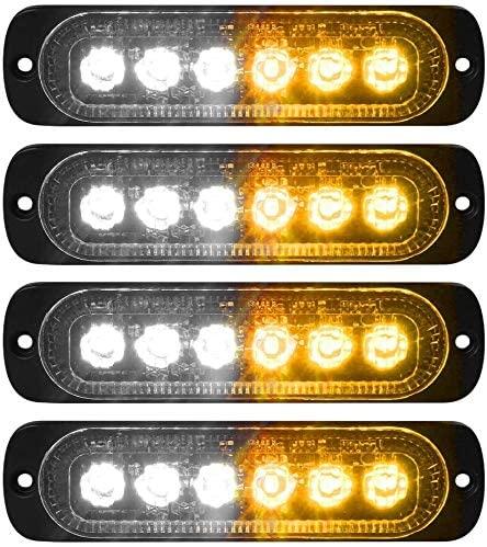 XT AUTO 4pcs Universal 12V-24V Super Bright Amber/White 18W 6-LED Warning Emergency Construction Surface Mount Beacon Flash Caution Strobe Light Bar