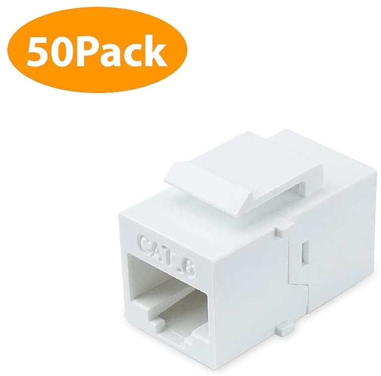Cat6 Keystone Jack, 50Pack Female to Female RJ45 Couplers Compatible with Cat7/6/6e/5/5e Ethernet Devices -White