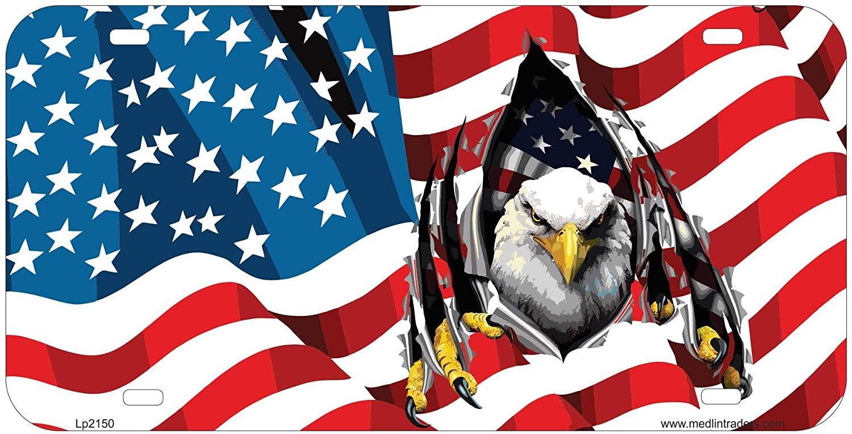 Medlin Traders Patriotic American Flag Eagle License Plate LP2150