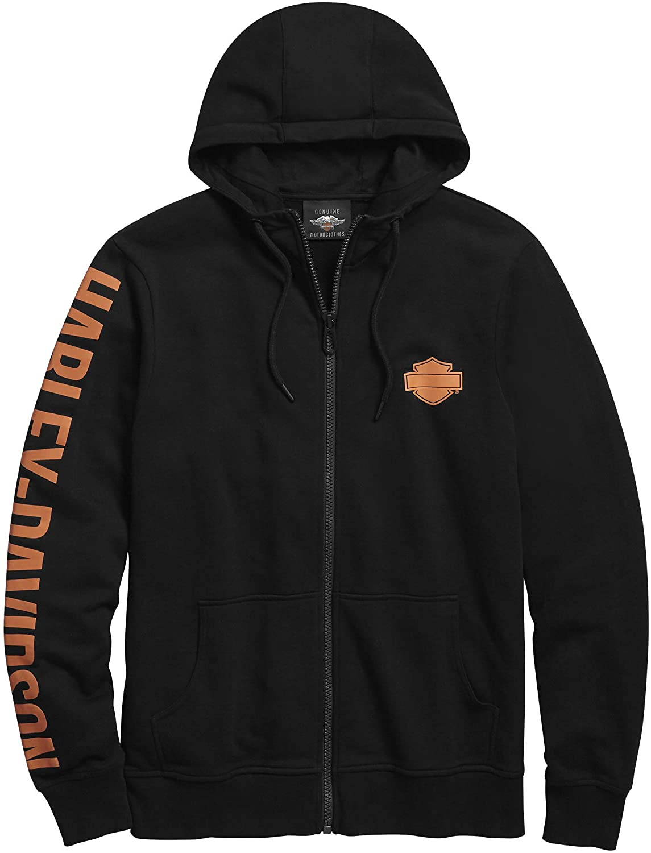 Harley-Davidson Men's Sleeve Graphic Full-Zip Hooded Sweatshirt (Black)