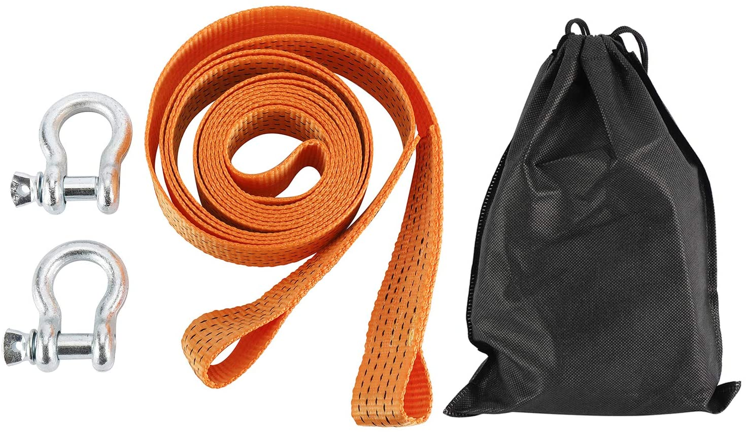 NovelBee 2 Inch x 13 Feet Nylon Recovery Heavy Duty Tow Strap with 2 Shackles and Storage Bag