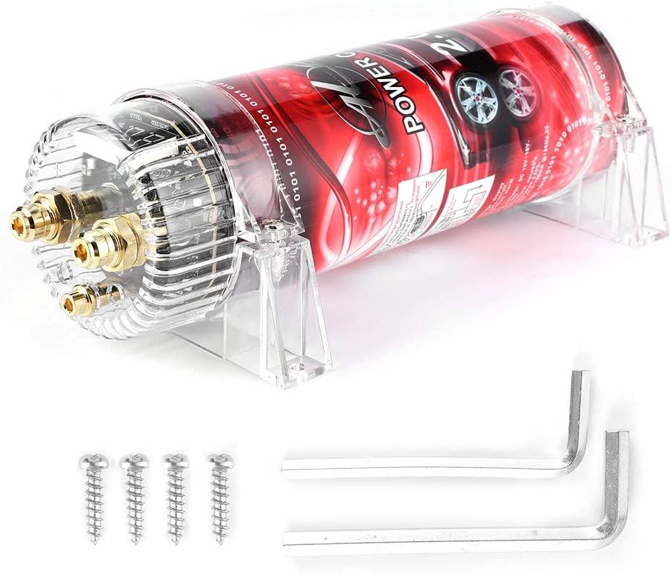 Yctze Car Audio Capacitor, 10‑16V DC 2 Farad Car Audio Power Capacitor Amplifier Voltage Regulator Red LED 10‑16V DC Modified Auto Parts