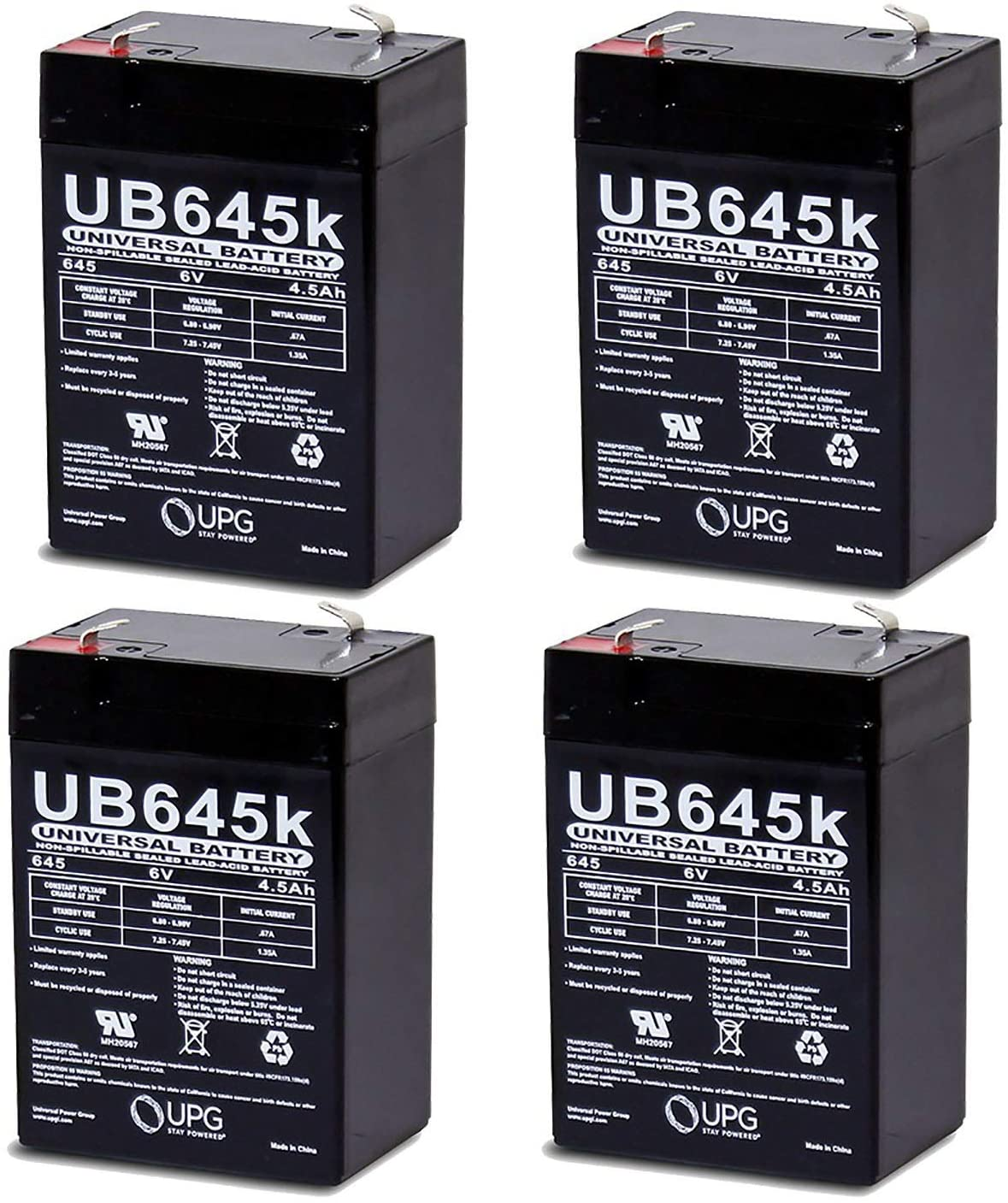 Universal Power Group Vision CP645 Replacement Rhino Battery - 4 Pack