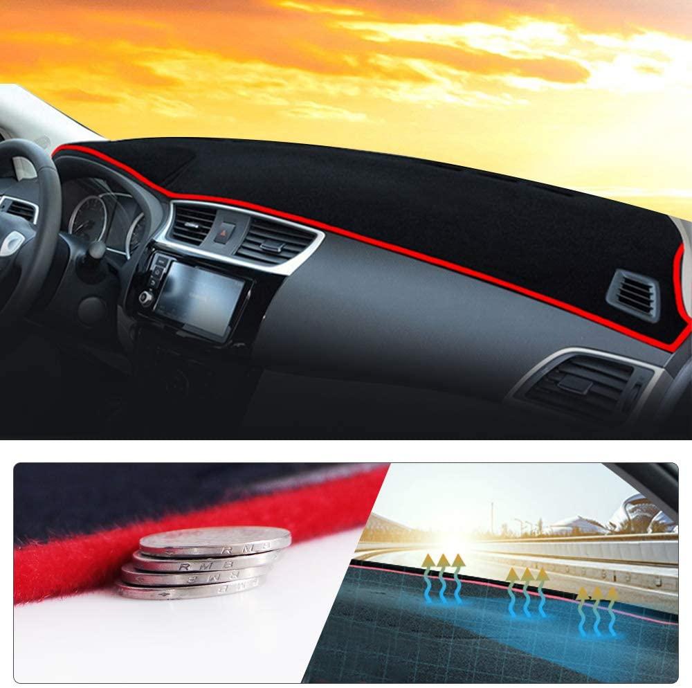 Maite Fit for KIA Sorento 2011-2015 Car Dashboard Cover Dash Mat with Silicone Non-Slip Bottom, Anti-glare Red Line
