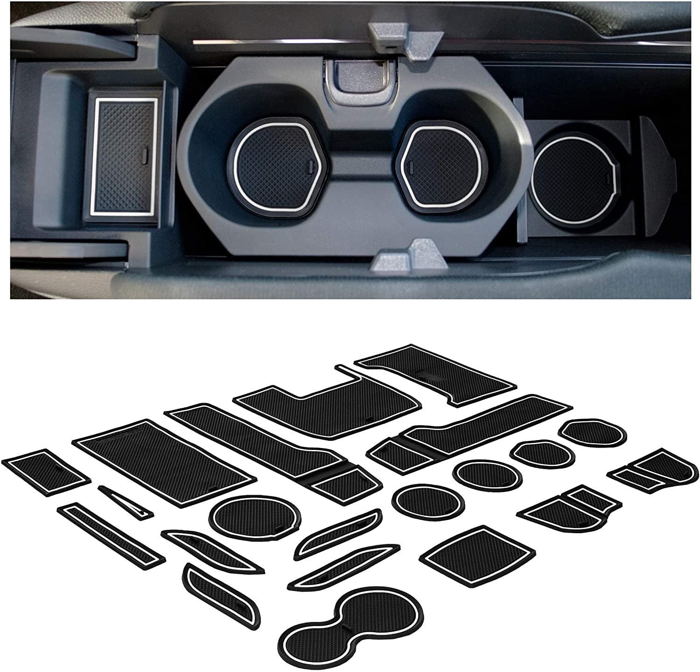 CupHolderHero for Honda Civic Accessories 2016-2020 Premium Custom Interior Non-Slip Anti Dust Cup Holder Inserts, Center Console Liner Mats, Door Pocket Liners 21-pc Set (Hatchback) (White Trim)
