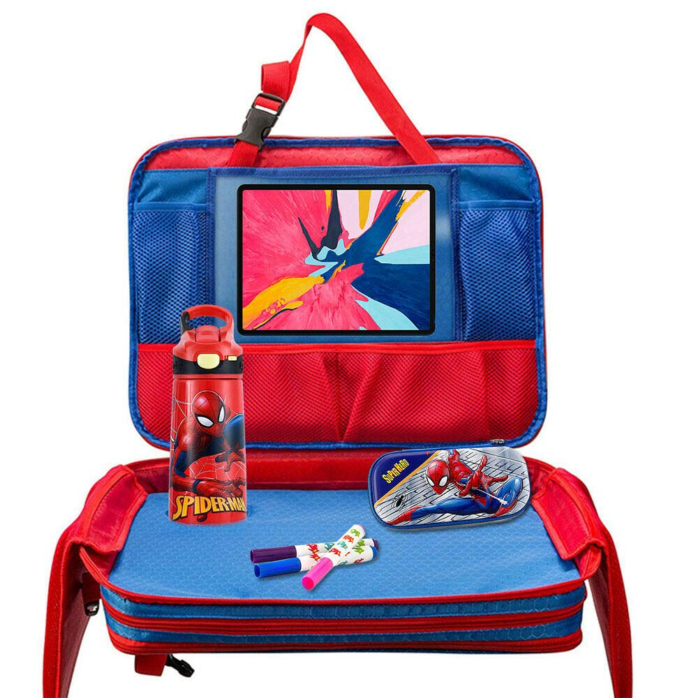 Kids Car Seat Travel Tray Toddler Snack Play Toy Drawing Board Desk Activity Lab Detachable Bag with Large Touch Screen Holder & Storage Pockets