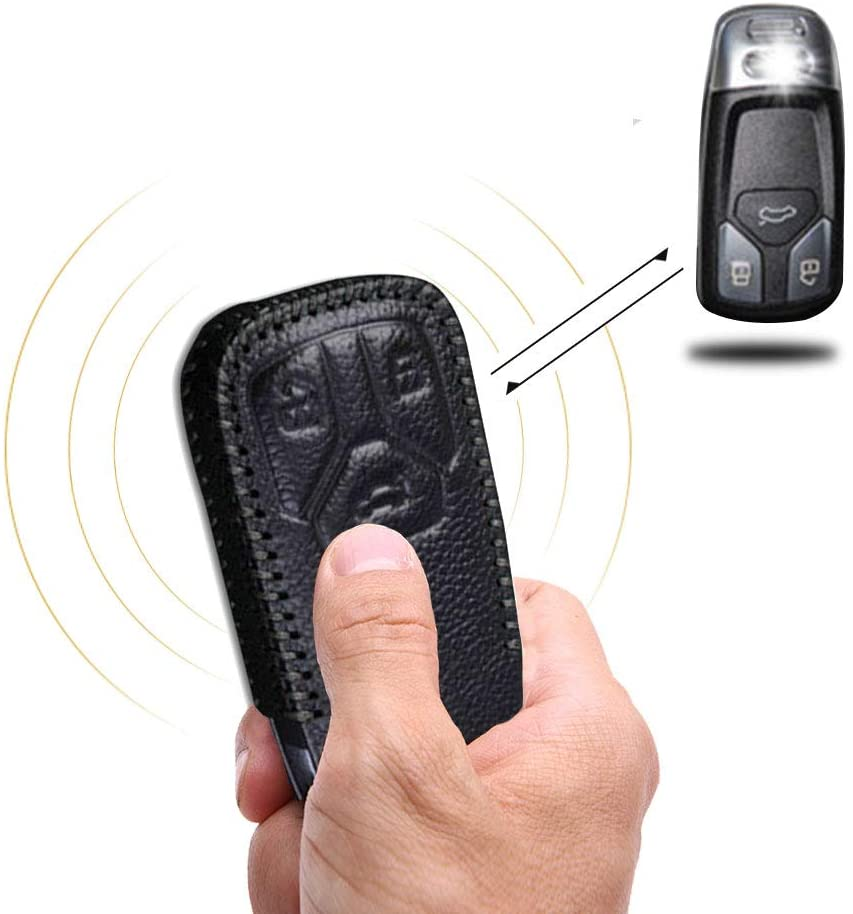 for Audi 3 Buttons Car Smart Key Protector Keyless Entry Protect Case Holder Leather Remote Fob Covers Hand Sewing Jacket Black Type D
