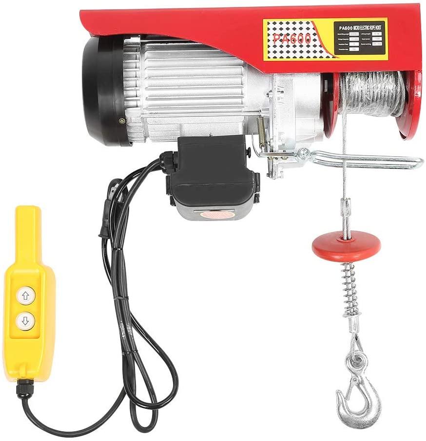 660/1320LBS Lift Electric Hoist, Overhead Crane Winch Remote Control Cable Lifting Crane, US Plug 110V