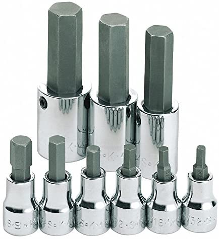 S2 Steel Socket Bit Set with 3/8, 1/2 Drive Size and Chrome Finish; Number of Pieces: 9