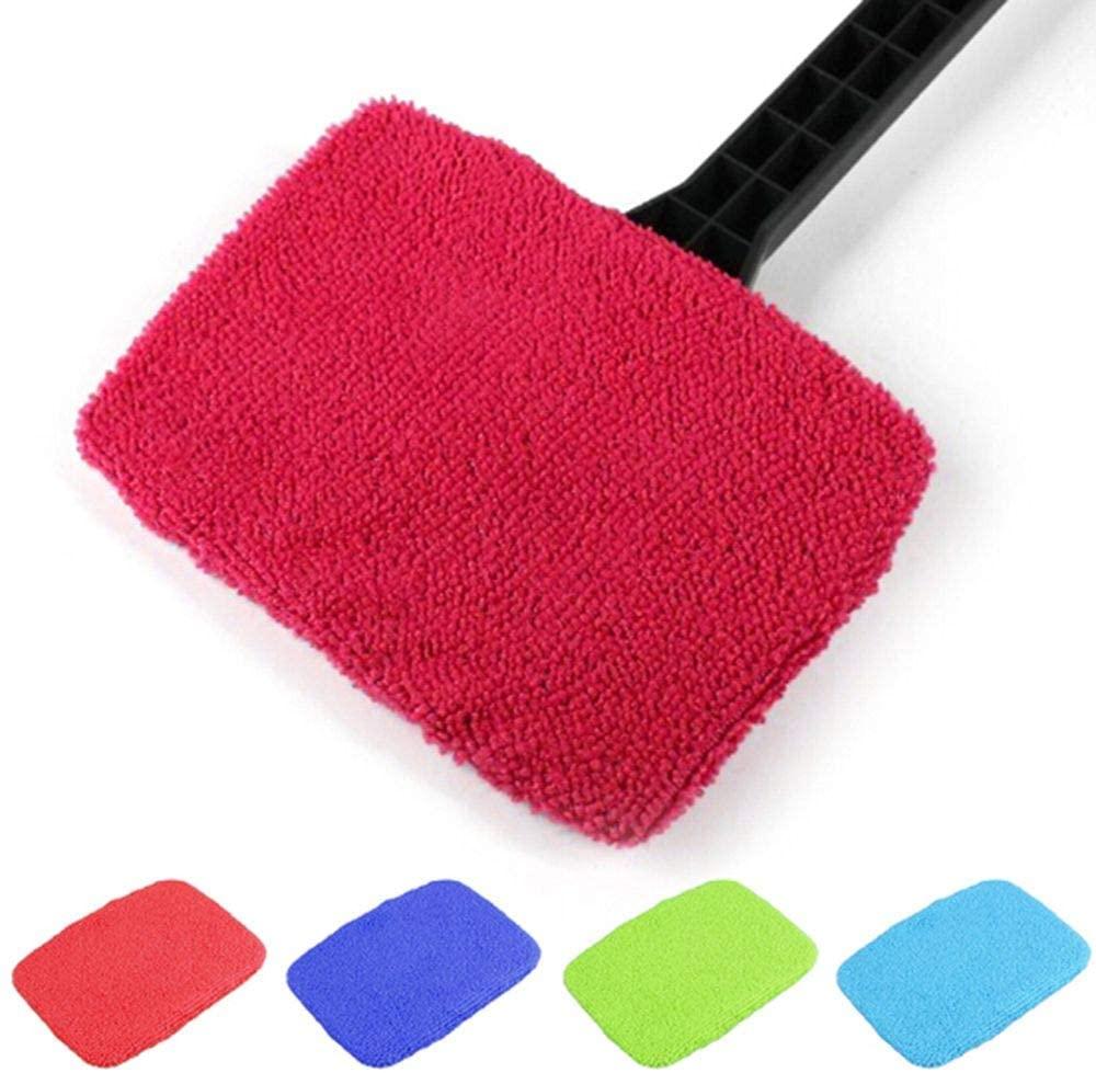 IETONE 4 Pack Car Window Cleaner, Auto Windshield Bonnet, Portable Micro Fiber Windscreen Brush Cover Kit-Inside/Outside/Home Wiper(Random Color)
