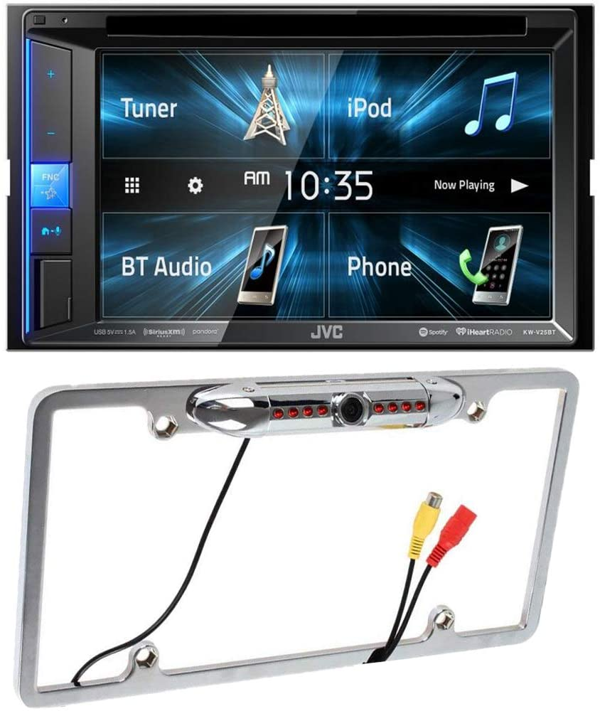 CACHÉ KIT3340 Bundle with Double DIN in–Dash Car Stereo with License Plate Reverse Backup Camera – Bluetooth CD/DVD/AM/FM/Digital Media Receiver Clear Resistive 6.2