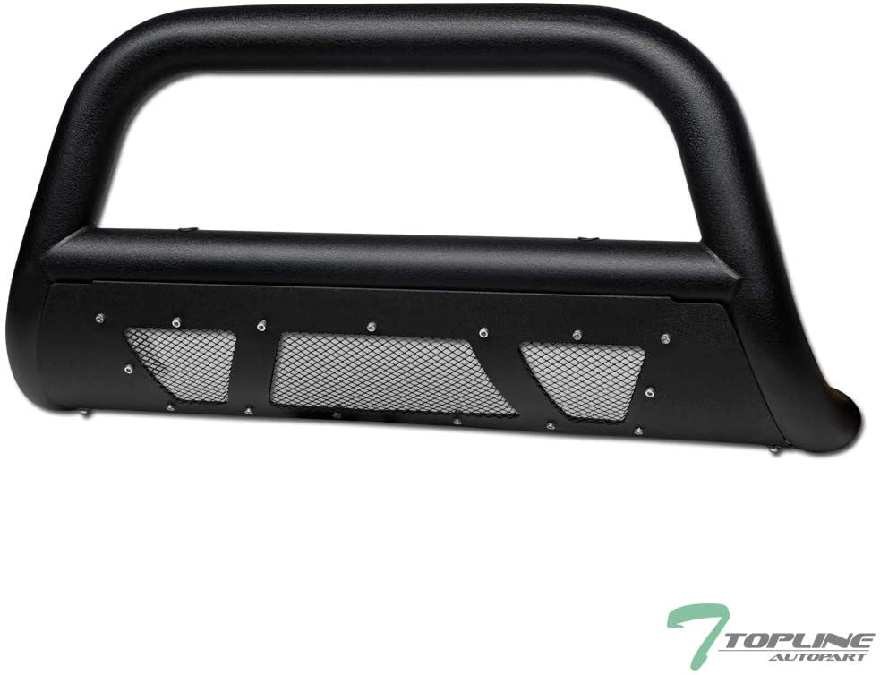 Topline Autopart Textured Black Studded Mesh Bull Bar Brush Push Front Bumper Grill Grille Guard With Skid Plate For 11-16 Ford F250 F350 F450 F550 Superduty