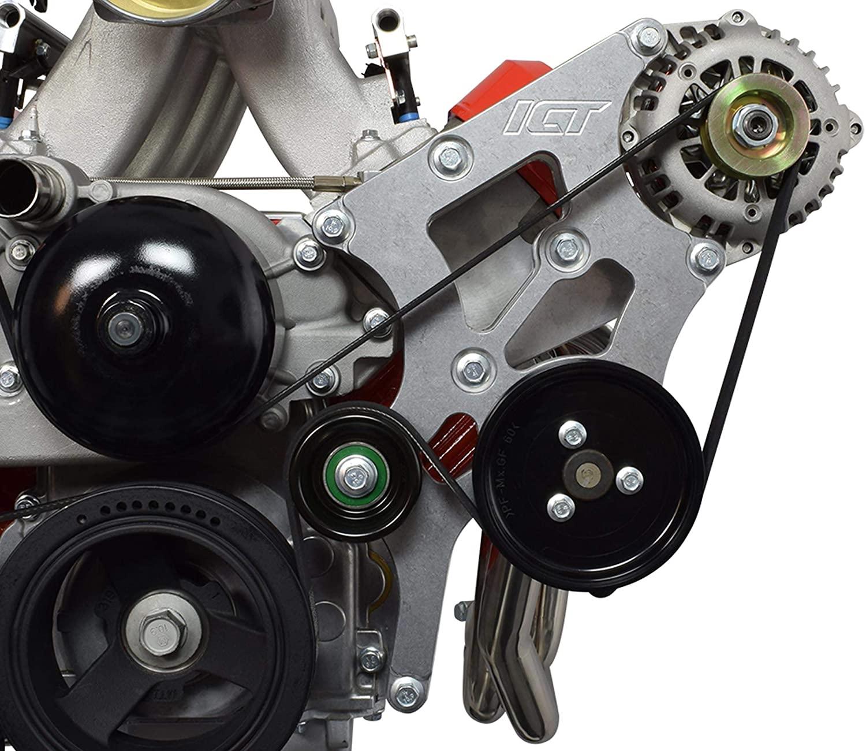ICT Billet LS Swap Alternator and Power Steering Bracket Kit Camaro Compatible with BMW 330i E46 LS1 LS3 LSX 4.8L 5.3L 6.0L 551796-2