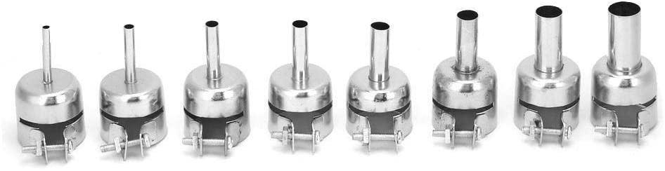 Rockyin 8 Pcs Stainless Steel Hot Air Gun Nozzle Heat Resisting Nozzle for 850 Heat Gun 3~12mm