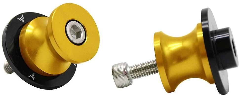 2pcs 6MM M6 X1.5 Motorcycle Swing arm Sliders Spools CNC Swing Arm Stand Screw for Yamaha FZ-01 FZ-03 FZ-125 FZ-09 FZ-10 (Gold)