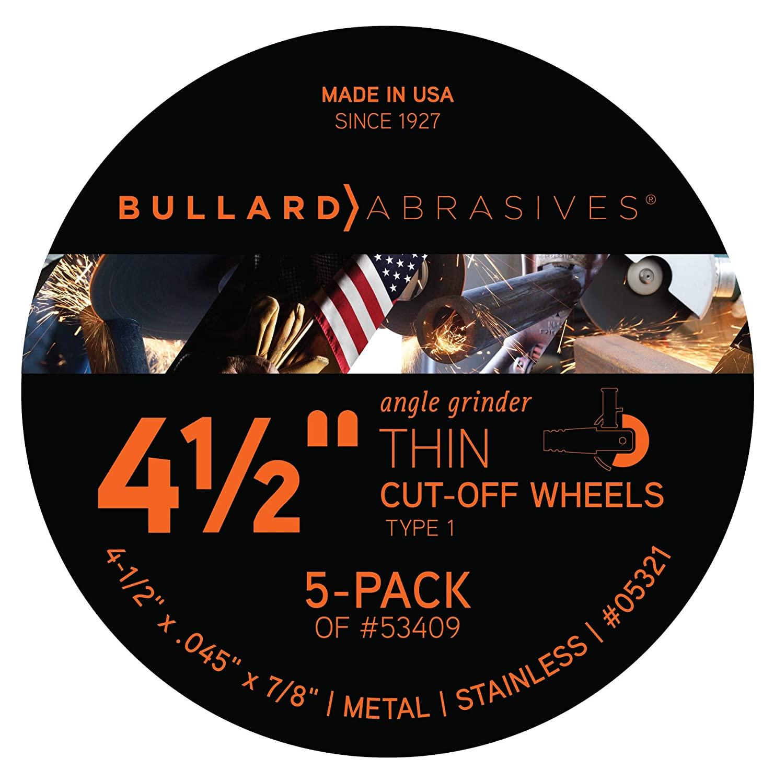 Bullard Abrasives 53409 High Energy Performance, TA60OU-BF, T1 Angle Grinder Cut-Off Wheel, 4-1/2 x .045 x 7/8 (Pack of 5), 05321