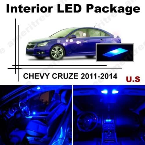 Ameritree Blue LED Lights Interior Package + Blue LED License Plate Kit for Chevy Cruze 2011-2014 (11 Pieces)