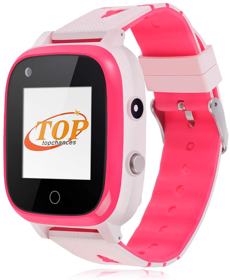4G Kids SmartWatches, IP67 Waterproof LBS WiFi GPS Tracker Children Smartwatch Phone Call for Boys Girls, Touch Screen Cellphone Video Call Voice Chat Anti-Lost SOS Learning Toy for Kids Gift, Pink