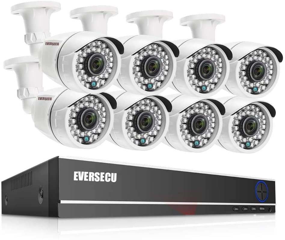 Eversecu 8 Channel Security Camera System 1080P Lite DVR and (8) 2.0MP 1080P Weatherproof Cameras Support Night Vison Weatherproof, Motion Alert, Smartphone, PC Easy Remote Access