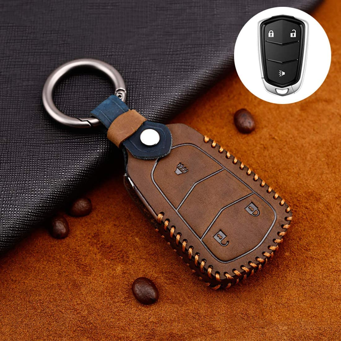 ontto 3-Button Key Fob Cover for Cadillac Keycase Holder Skin Premium Leather Brown