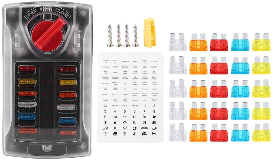 12 Ways Blade Fuse Box, 12 Circuits Fuse Box Holder with LED Indicator Damp-Proof Protection Cover and Label Sticker for 32V Car Truck Boat and Yacht