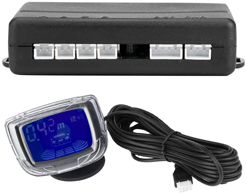 SANON Car Parking Reverse Reversing Backup Radar System,Car Parking Sensor 4 Reversing Sensors, Car Reversing Sensors Backup Radar System Buzzer Alarm 2inch LCD Display