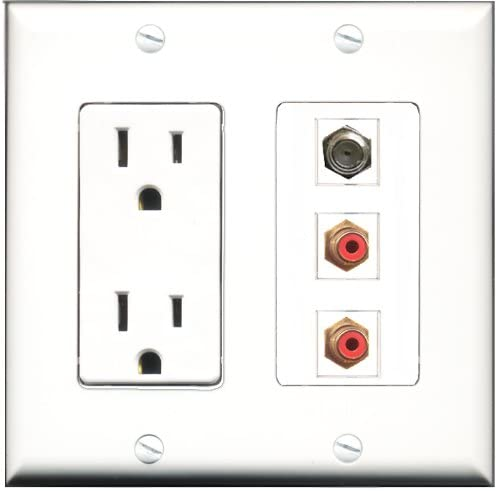 RiteAV - 15 Amp Power Outlet 2 Port RCA Red 1 Port Coax Decorative Wall Plate