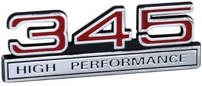 345 V8 High Performance Emblem with Red & Chrome Trim