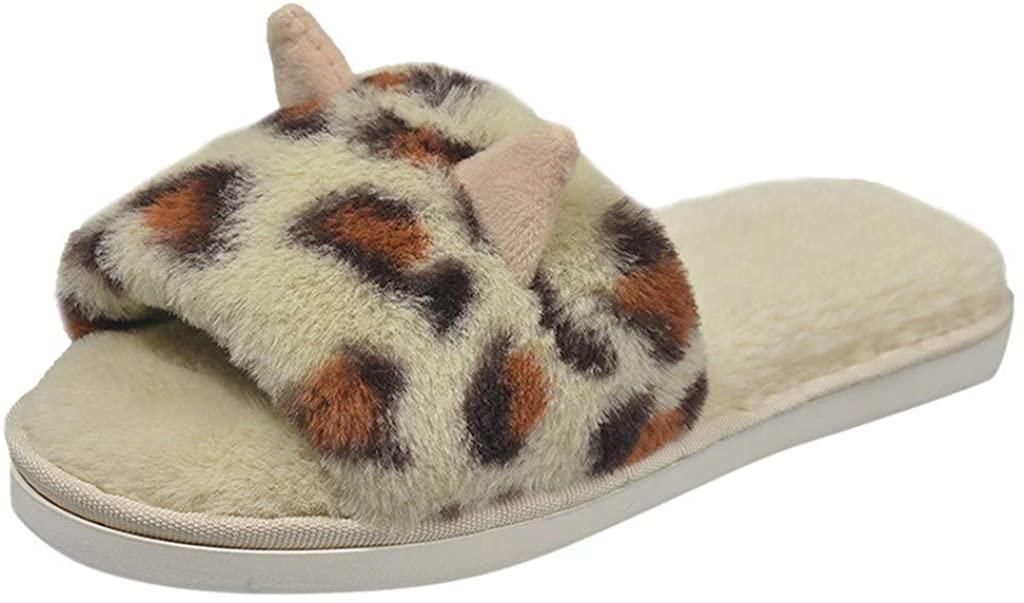 Gibobby Slippers for Women Memory Foam,Furry Fur Slippers Flip Flop Open Toe Cozy House Slippers Anti-Slip Indoor Outdoor