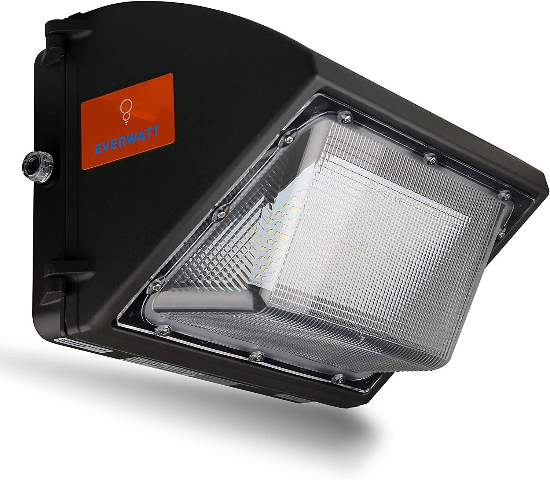 EverWatt High-Efficiency 500W Metal-Halide Equivalent, 80W LED Outdoor Wall Pack Light, 4000K Cool White, 10000 Lumens, Waterproof, Easy Mount, Commercial/Industrial, UL & DLC