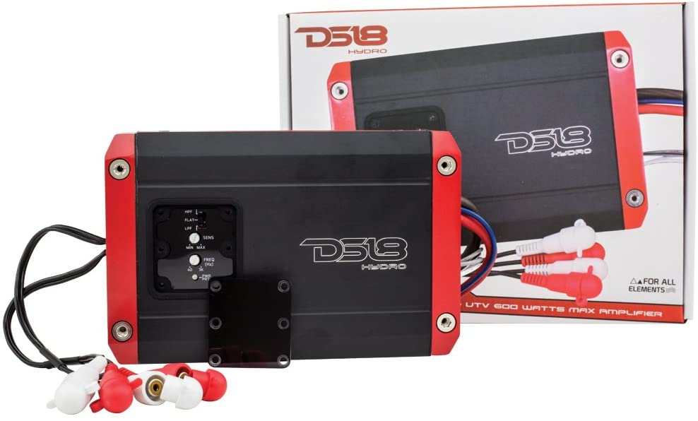 DS18 Hydro NXL200.2D Next Level Full Range Digital Marine 2-Channel 600 Watts Max Multichannel Amplifier -All Elements for All Applications