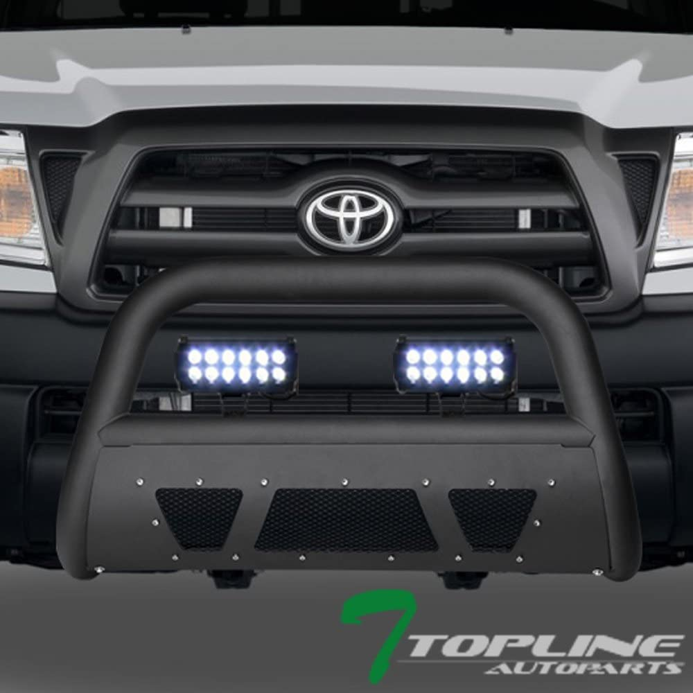 Topline Autopart Matte Black Studded Mesh Bull Bar Brush Push Front Bumper Grill Grille Guard With Skid Plate + 36W CREE LED Fog Lights For 05-15 Toyota Tacoma