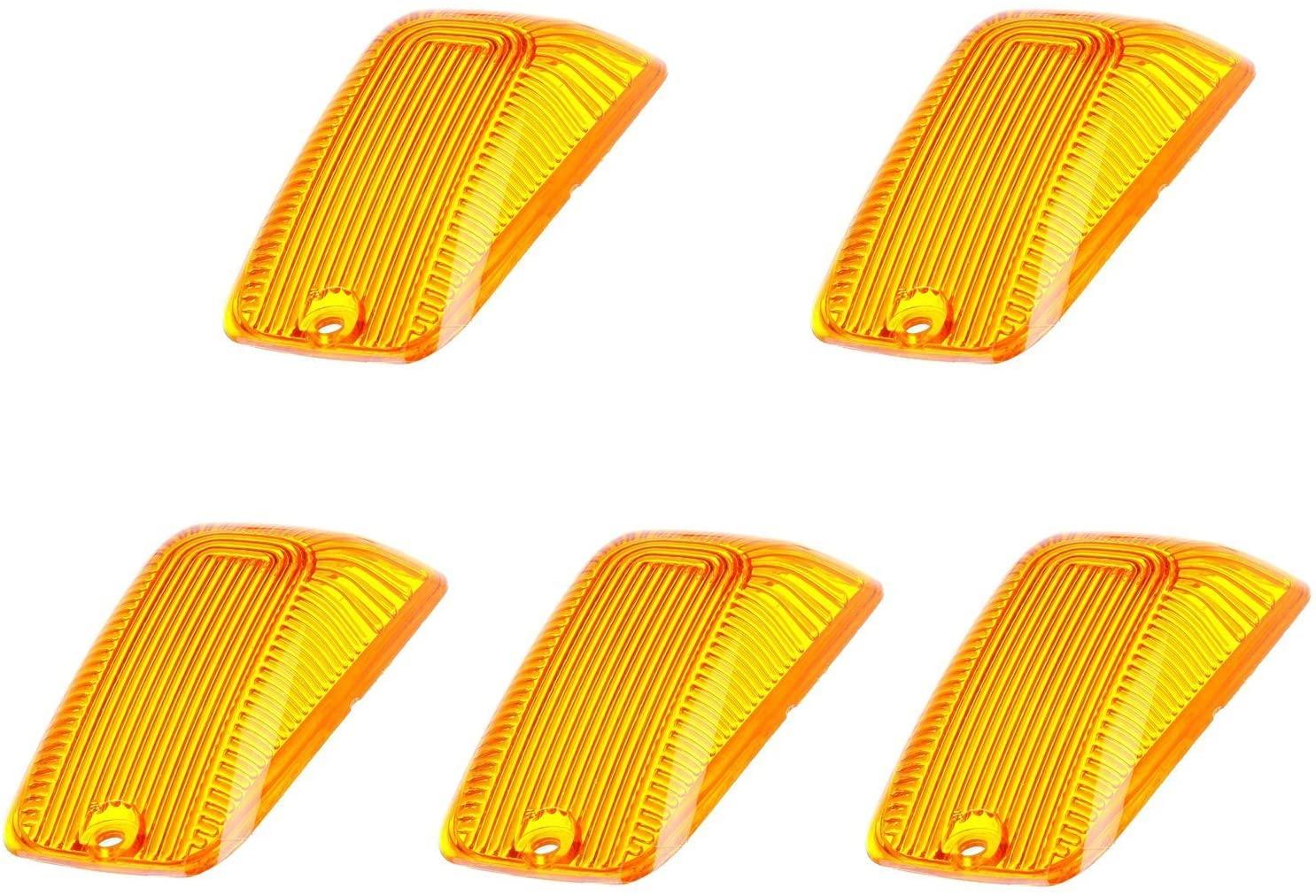 5 X Cab Marker Light Amber Cover, Cab Roof Running Lights, Top Light for 1988-2002 Chevy/GMC C1500 C2500 C3500 K1500 K2500 K3500 Pickup Trucks (Only Cover)