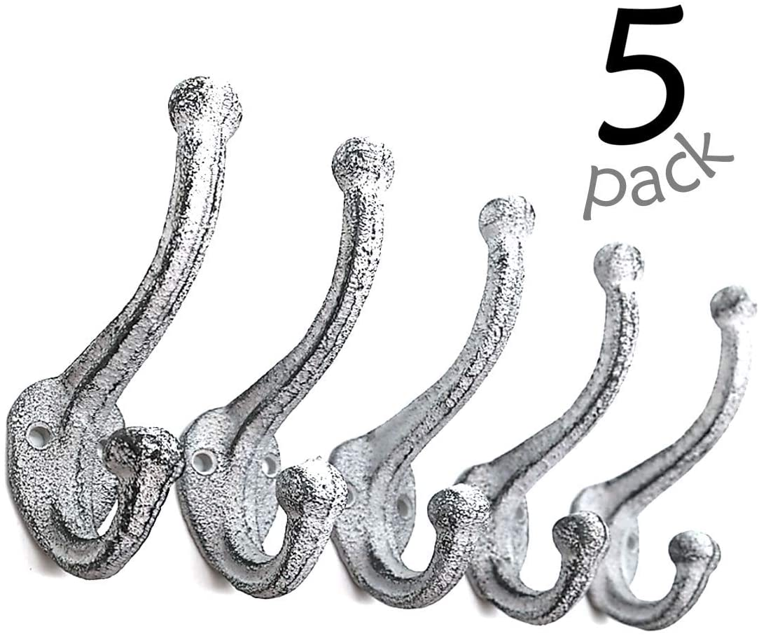 Ambipolar Decorative Rustic Cast Iron, Wall Mounted Coat Hooks (Set of 5) Vintage Inspired, Modern Farmhouse, Coats, Bags, Hats, Towels (Antique White)